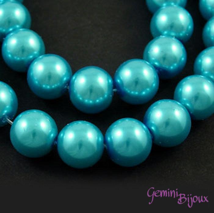 Lotto 20 perle tonde in vetro cerato 8mm turchese