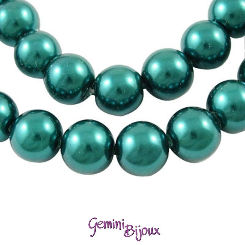 Lotto 20 perle tonde in vetro cerato 8mm teal (foglia di tè)