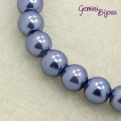 Lotto 20 perle tonde in vetro cerato 8mm Blu Fiordaliso