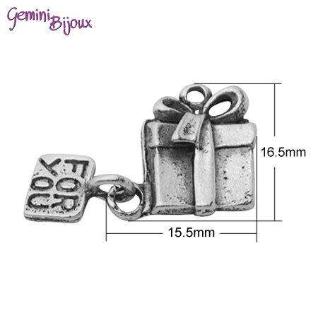 Charm argento tibetano pacchetto regalo, 26x17 mm