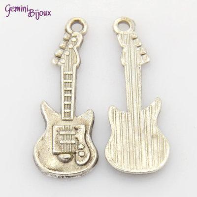 Charm argento tibetano chitarra, 31x11mm