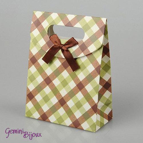 Sacchetto da regalo in carta con nastro di raso, 16.5x12.5x5.6 cm. fantasia Tartan Coffee