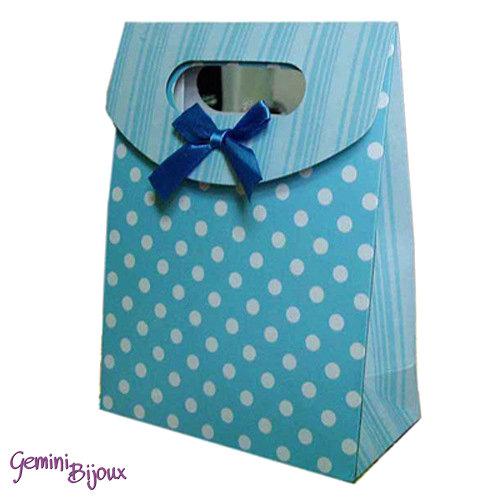 Sacchetto da regalo in carta con nastro di raso, 16.5x12.5x5.6 cm. azzurro a pois