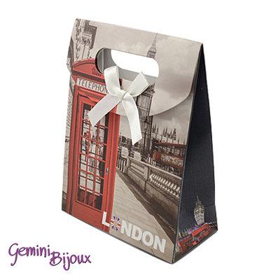 Sacchetto da regalo in carta con nastro di raso, 16.5x12.5x5.6 cm. London