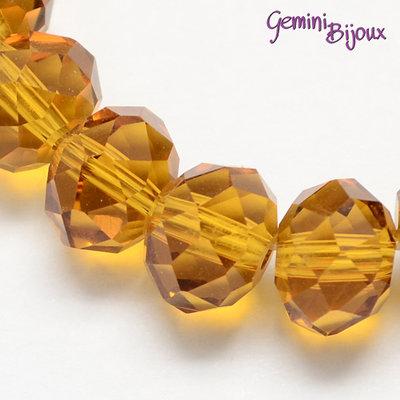 Lotto 10 rondelle in vetro sfaccettate 8x6 giallo golden