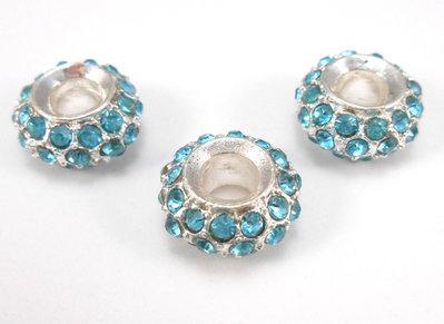 3 perle a foro largo strass azzurri