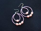 Orecchini a Goccia con Perle Cerate rosa