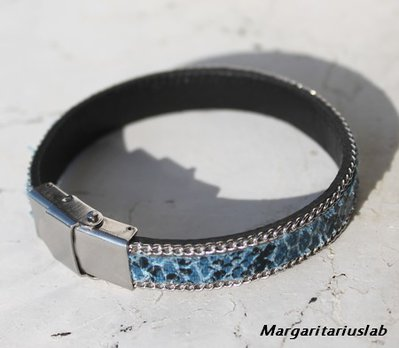 Bracciale sporting pitone ecologico  blu