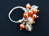 Anello wire con Charms in perle di boemia e perle cerate rame