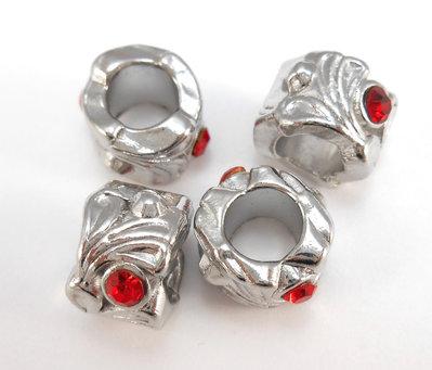 Perle a foro largo strass rossi 10 pezzi