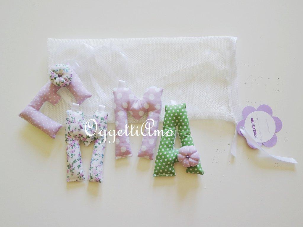 Emma: una ghirlanda di lettere imbottite lilla e verdi per il suo nome!