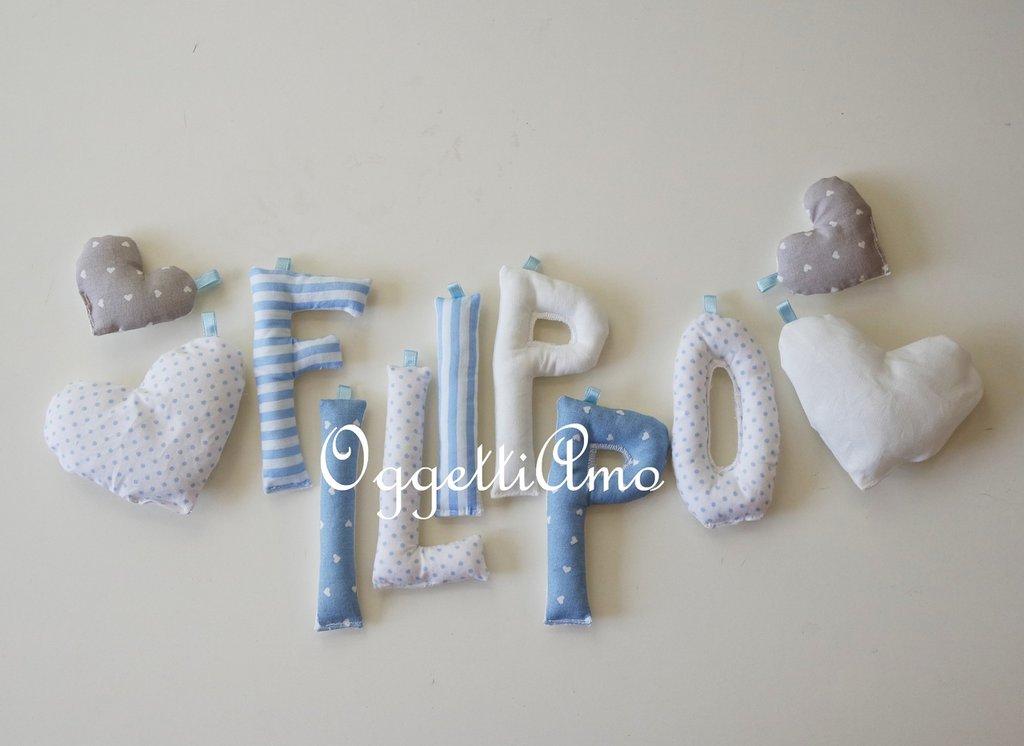 Filippo: una ghirlanda di lettere celesti per decorare la cameretta con il banner del suo nome!