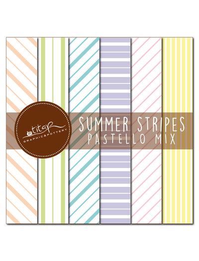 File digitali stampabili: set di 6 carte grafiche originali rigate colori mix pastello