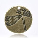 Charm tondo con libellula 19mm bronzo 10 pz