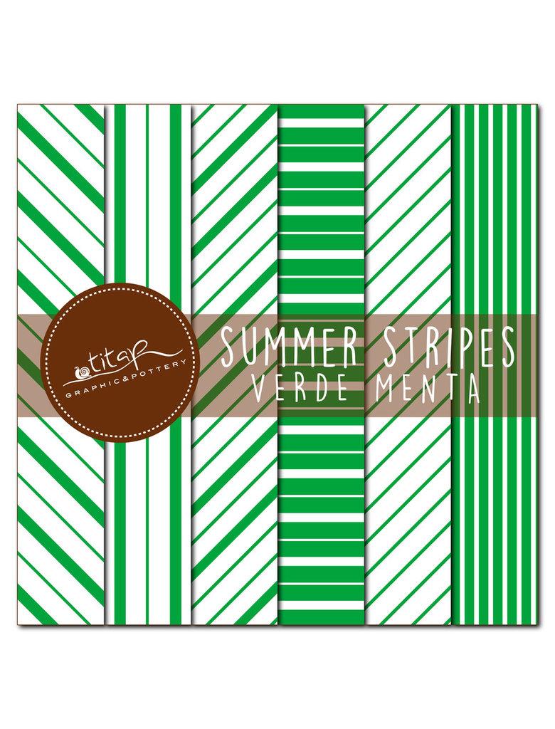 File digitali stampabili: set di 6 carte grafiche originali rigate, color verde menta