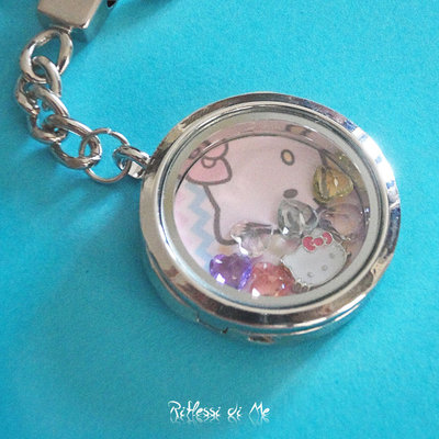"Portachiavi ""Hello Kitty"" in metallo con charms - argento"