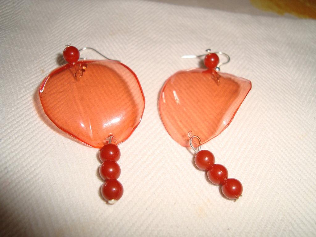 Orecchini arancione a pendente