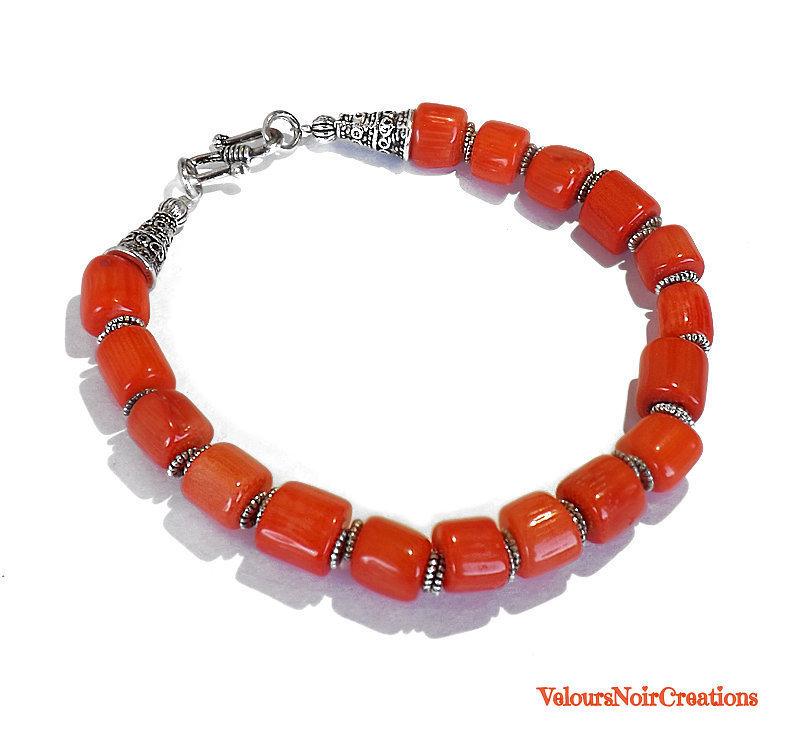 Bracciale con perle in  corallo arancione