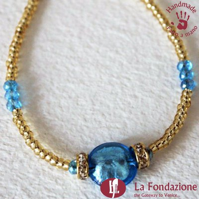 Bracciale Shissa effetto acqua color azzurro in vetro di Murano fatto a mano