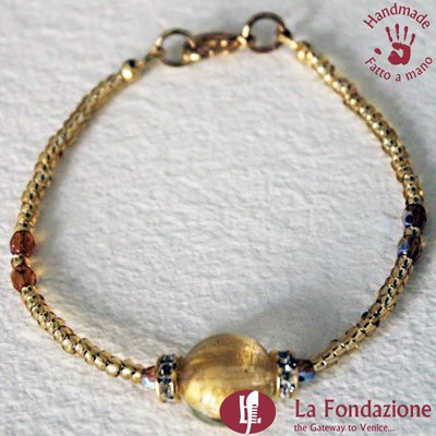 Bracciale Shissa effetto acqua color oro in vetro di Murano fatto a mano
