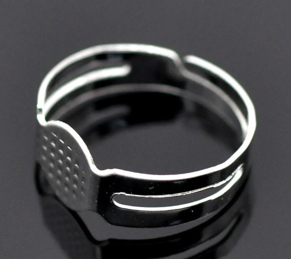 3 Basi per anello con piastrina 8mm