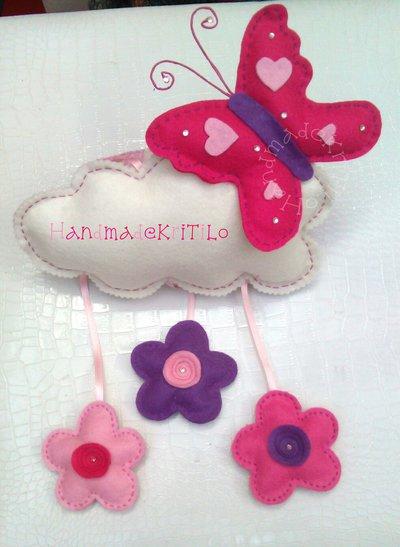 fiocco nascita nuvola con farfalla e fiori Handmade KriTiLo in pannolenci