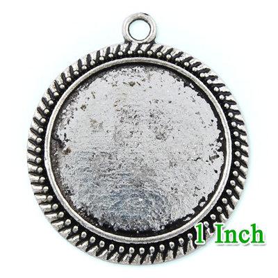 4 Basi cammeo 25mm argento antico