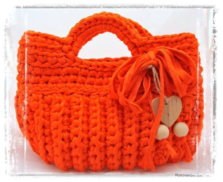 Borsa a mano in fettuccia arancione