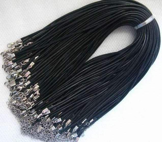 Collana in cordino cerato nero 3mm 10 pz