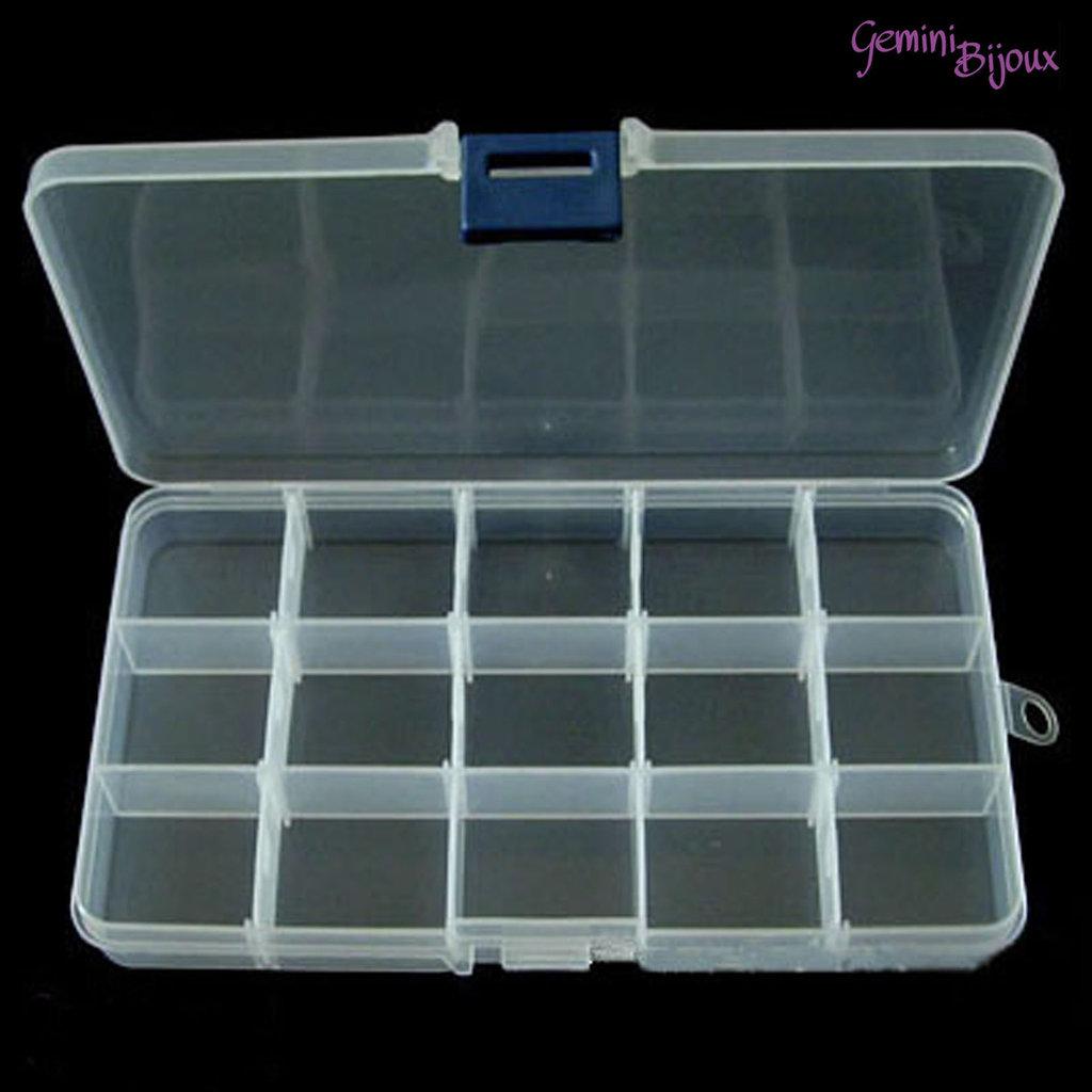 Box per minuteria, trasparente rettangolare, cm. 17.5x10 con scomparti removibili