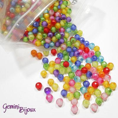 """Lotto 20 perle acrilico """"bead in bead"""", 8 mm. mix di colori"""