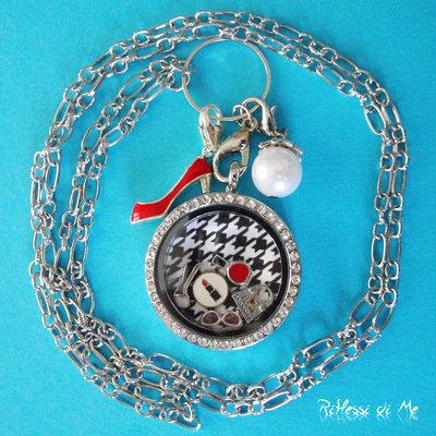 """Collana """"Fashion"""" con medaglione in vetro e strass, sfondo, charms e ciondoli"""