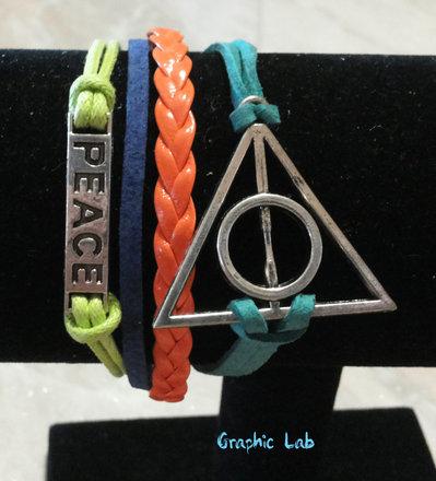 Bracciale in Pelle Sintetica Marrone Nera Harry Potter Boccino d'oro Doni della Morte e Gufi