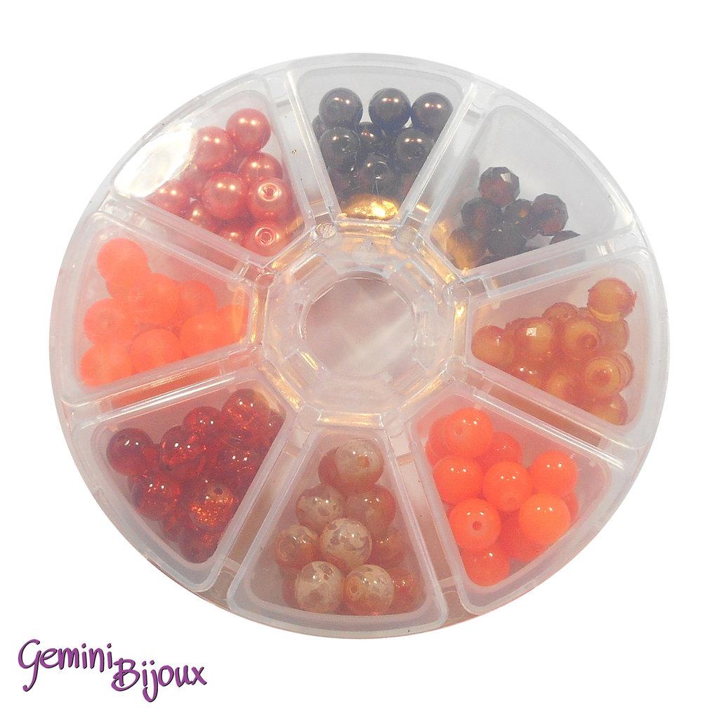 Box 8 lotti di perle da 8 mm. Arancio