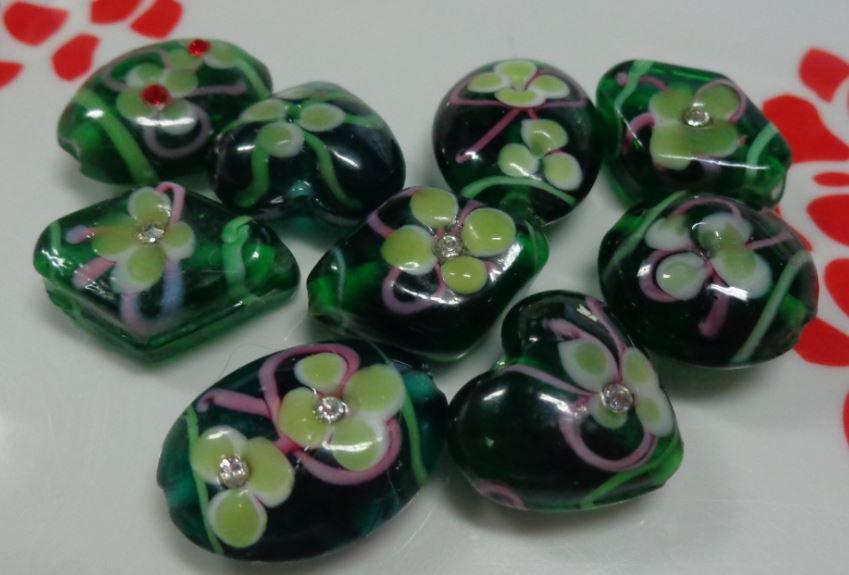 9 Mix perline vetro color Verde Bottiglia