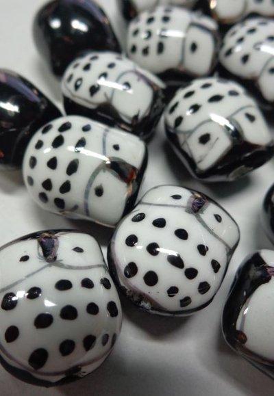 6 Perline Gufetti NERO Porcellana