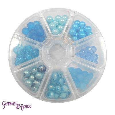 Box 8 lotti di perle da 8 mm. Azzurro