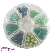 Box 8 lotti di perle da 8 mm. Verde