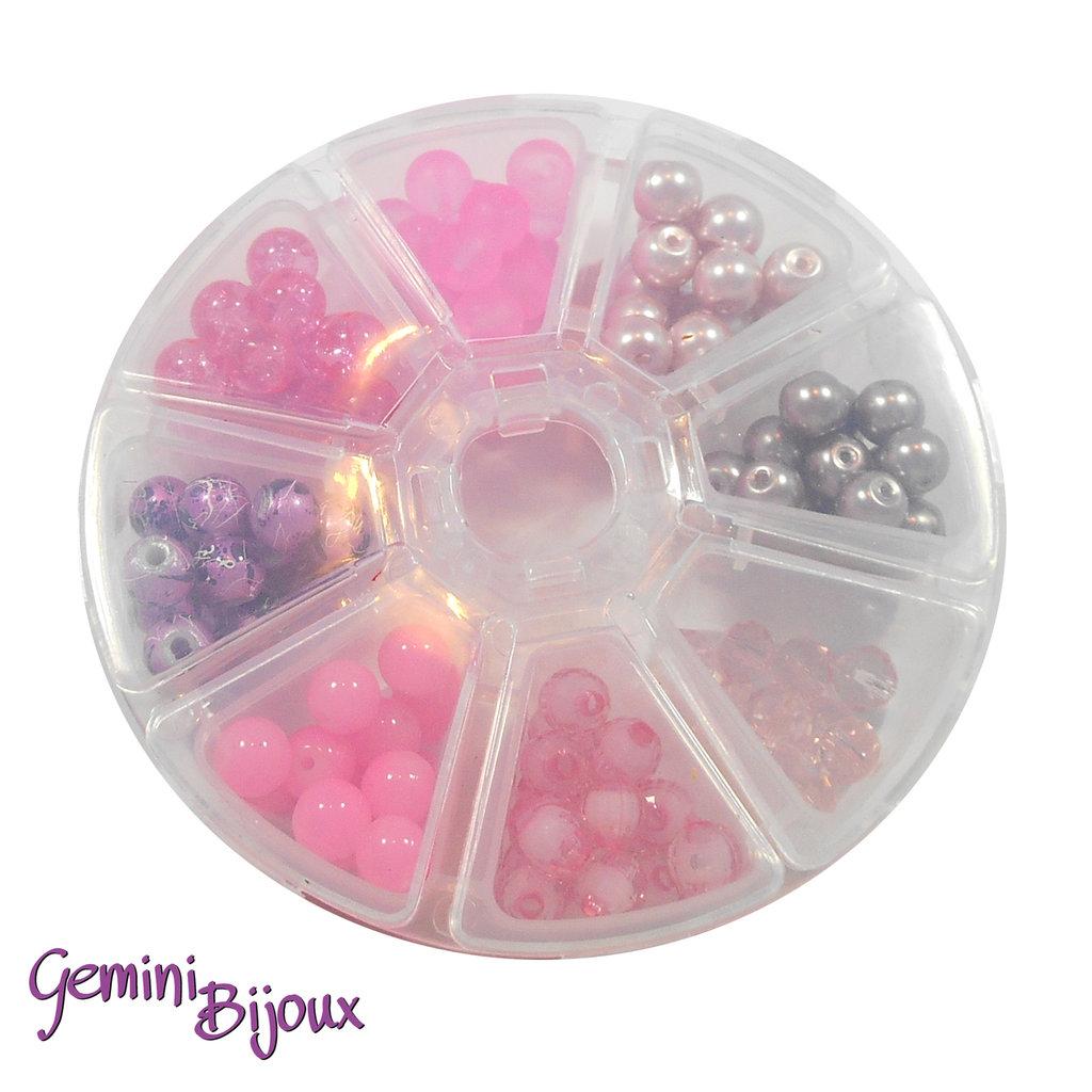 Box 8 lotti di perle da 8 mm. Rosa