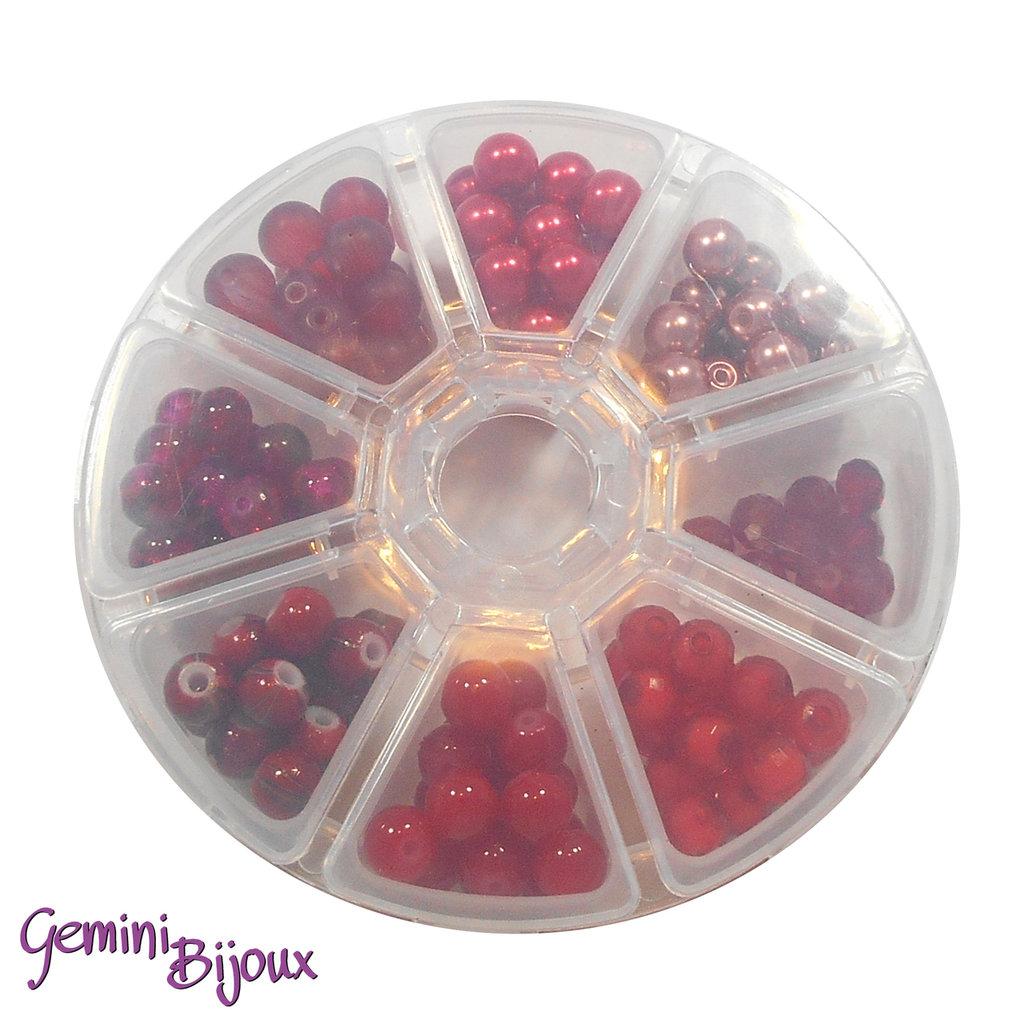 Box 8 lotti di perle da 8 mm. Rosso