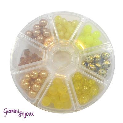Box 8 lotti di perle da 8 mm. Giallo