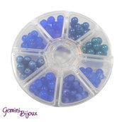 Box 8 lotti di perle da 8 mm. Blu