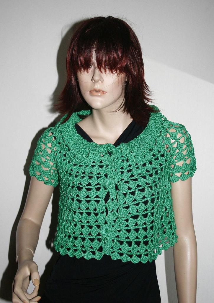bolero maglia shirt donna artigianale uncinetto verde smeraldo xs s 38 40