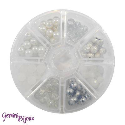 Box 8 lotti di perle da 8 mm. Bianco