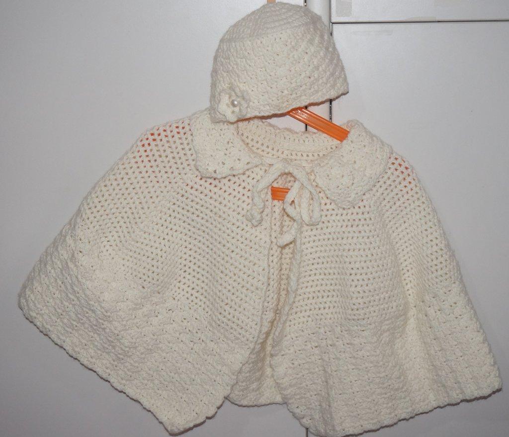 Mantellina Cappello  lana baby