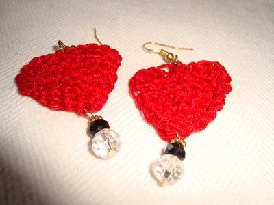 orecchini cuore pendenti rosso