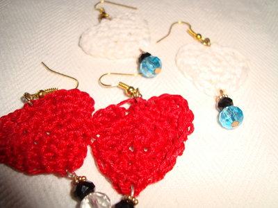 orecchini uncinetto cuore 2 coppie