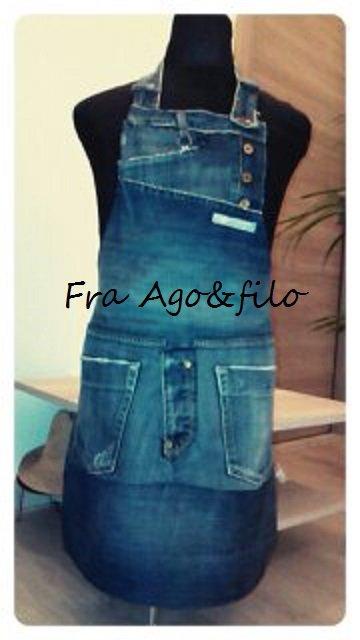 "GREMBIULE JEANS "" Fra Patch&Work .. e il Sartoriale "" - -mod jeans- -"