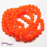 Lotto 20 perle tonde in vetro imitazione giada 8mm arancio