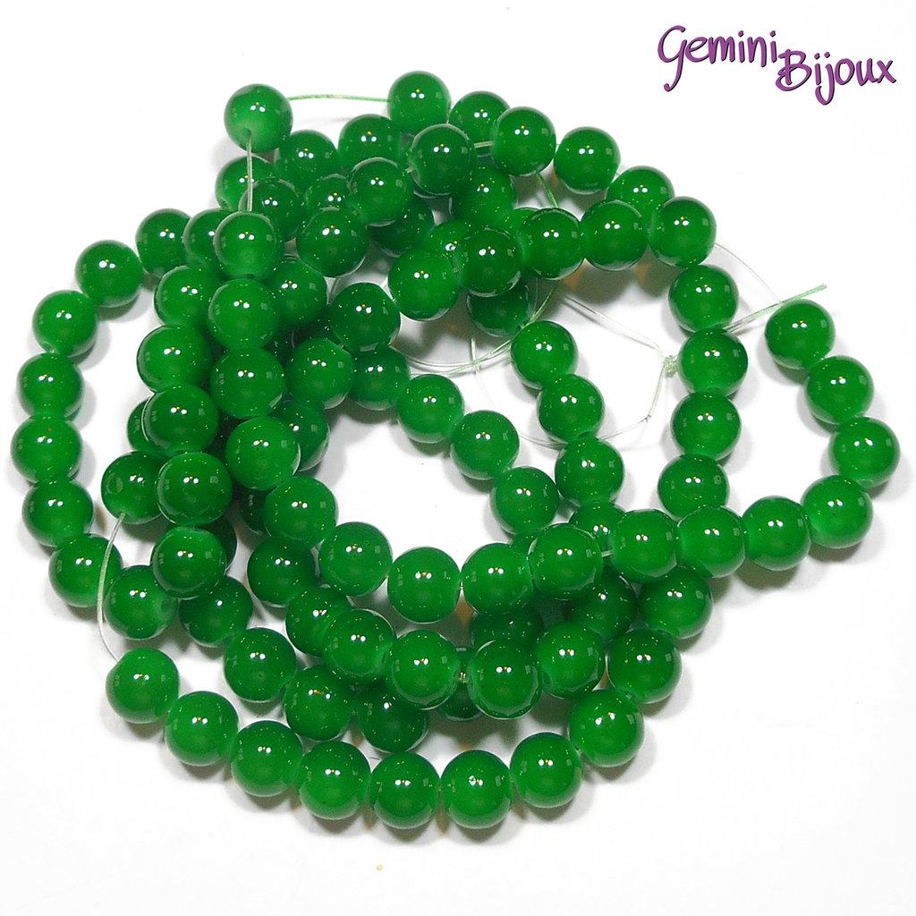 Lotto 20 perle tonde in vetro imitazione giada 8mm verde